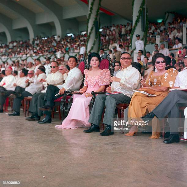 President of Philippines Ferdinand Marcos seated with wife and officials during inauguration ceremonies