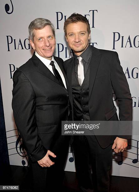 President of Piaget North America Larry Boland and actor Jeremy Renner in the Piaget Lounge at the 25th Film Independent Spirit Awards held at Nokia...