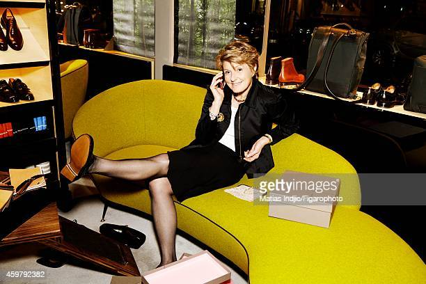 President of Piper-Heidsieck and Charles Heidsieck, Cecile Bonnefond is photographed for Madame Figaro on October 25, 2014 in Paris, France....