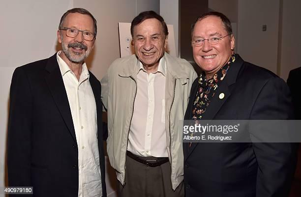 President of Pixar Animation Studios Disney Animation Studios Ed Catmull composer Richard Sherman and CEO of Pixar Animation Studios Disney Animation...