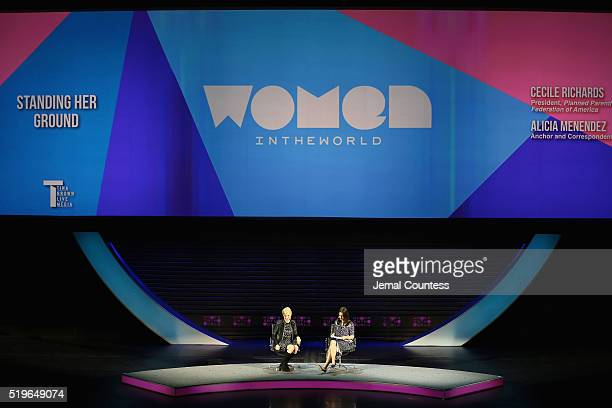 President of Planned Parenthood Federation of America and Planned Parenthood Action Fund Cecile Richards and Alicia Menendez speak onstage at...