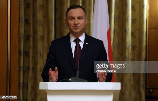 President of Poland Andrej Duda speaks during a joint press conference with President of Ethiopia Mulatu Teshome Wirtu at National Palace in Addis...