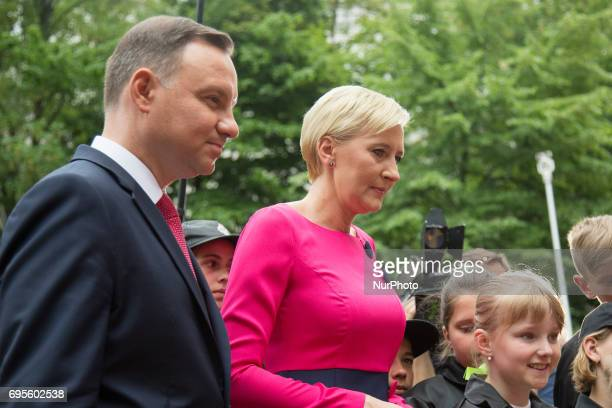 President of Poland Andrzej Duda and First Lady of Poland Agata KornhauserDuda with kids at Presidential Palace Gardens in Warsaw Poland on 12 June...