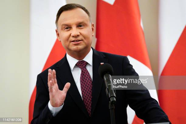 President of Poland Andrzej Duda and Georgian Presdient Salome Zourabichvili are seen at a press conference at the Presidential Palace in Warsaw,...