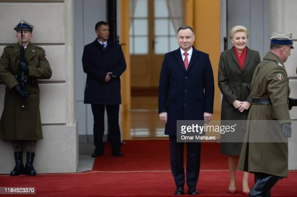 President of Poland Andrzej Duda and his wife Agata Duda wait to welcome Crown Prince Frederik of Denmark and Crown Princess Mary of Denmark during...