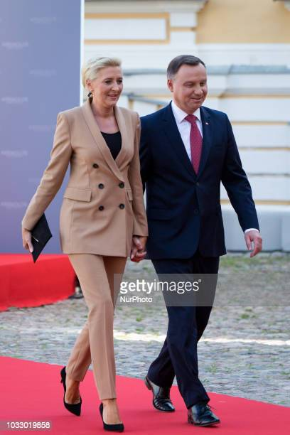 President of Poland Andrzej Duda and his wife Agata Kornhauser-Duda, during the 14th informal meeting of the Arraiolos Group at Rundale Palace in...