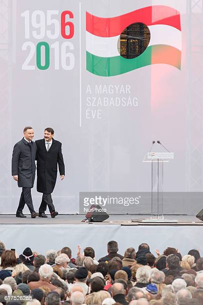 President of Poland Andrzej Duda and President of Hungary Janos Ader during the 60th anniversary of Hungarian Revolution of 1956 at Kossuth Lajos...