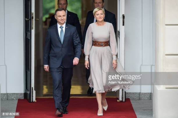 President of Poland Andrzej Duda and the first Lady Agata KornhauserDuda during an official visit by the Duke And Duchess Of Cambridge on July 17...