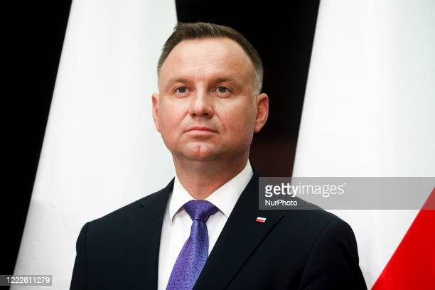 President of Poland, Andrzej Duda, attends a meeting during his presidential campaign visit in Wierzchoslawice, Poland on June 22, 2020 in Krakow....