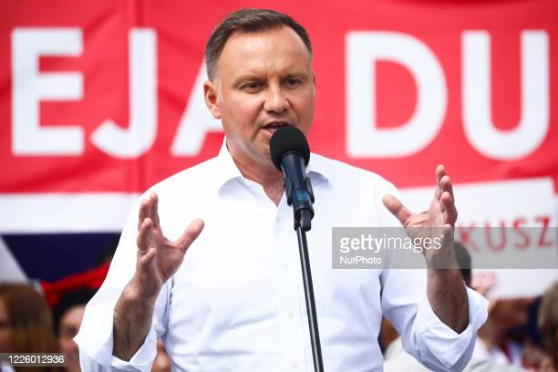 President of Poland, Andrzej Duda, attends a presidential campaign rally in Olkusz, Poland on July 9th, 2020 in Krakow. The incumbent President,...