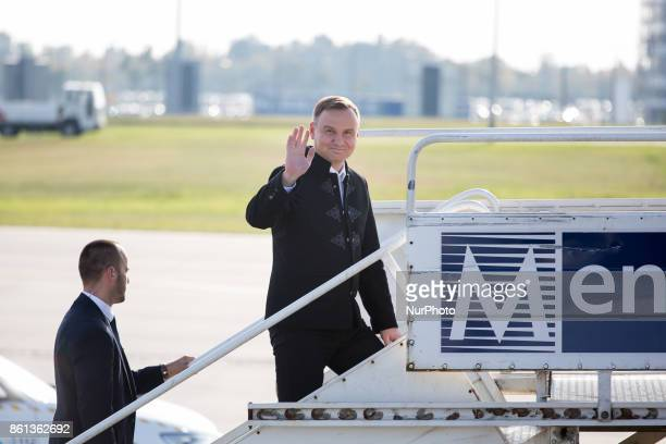President of Poland Andrzej Duda boards Polish Government Embraer ERJ175LR after the meeting of heads of state of the Visegrad Group countries in...