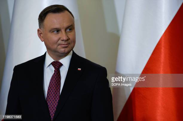President of Poland, Andrzej Duda delivers a press statement after bilateral meeting at the Presidential Palace. For the first time in the last 6...