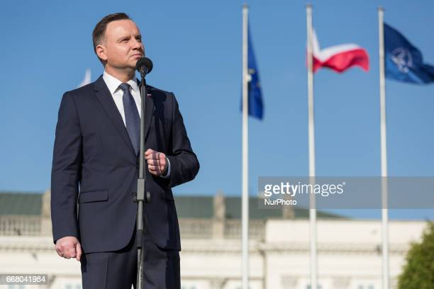 President of Poland Andrzej Duda during anniversary of Smolensk crash in front of Presidential Palace in Warsaw Poland on 10 April 2017