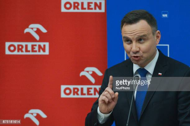 President of Poland Andrzej Duda during his speech as he takes part in the 2nd Young Leaders' Congress and meet students in University of Rzeszow On...