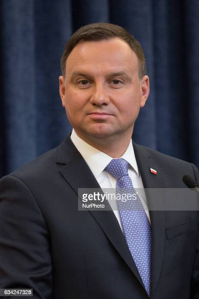 President of Poland Andrzej Duda during the press conference at Presidential Palace in Warsaw Poland on 8 February 2017