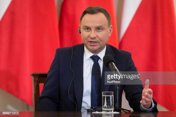 President of Poland Andrzej Duda during the press conference with President of the Czech Republic Milos Zeman at Presidential Palace in Warsaw,...