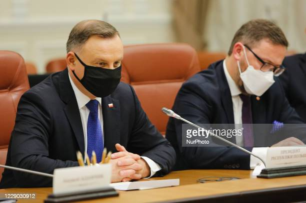President of Poland Andrzej Duda is seen during the meeting with the Prime Minister of Ukraine Denys Shmyhal in Kyiv, Ukraine, October 12, 2020....