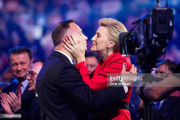 President of Poland, Andrzej Duda kisses Poland's First Lady, Agata Kornhauser-Duda during the official launch of Presidential campaign on February...
