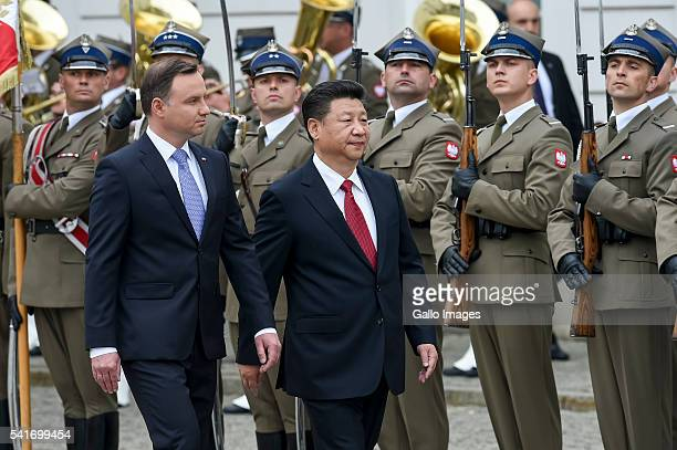 President of Poland Andrzej Duda meets the President of the People's Republic of China Xi Jinping on June 20, 2016 in Warsaw, Poland. The meeting was...