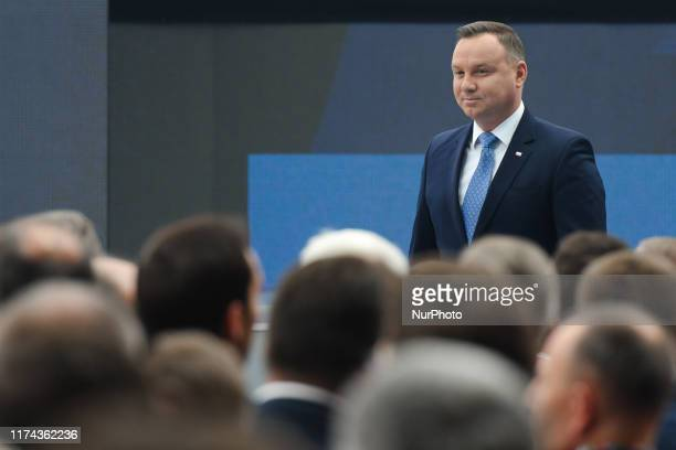 President of Poland, Andrzej Duda, seen at Congress 590 economic forum, in the G2A Arena Exhibition and Congress Centre in Jasionka, near Rzeszow....