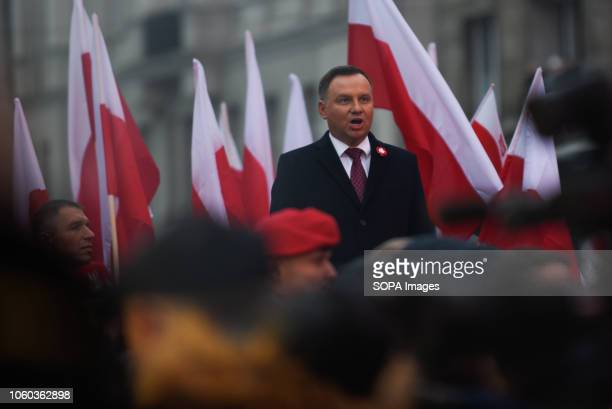 President of Poland Andrzej Duda seen speaking before the official march organized by the Polish government at Rondo Dmowskiego Days before the...