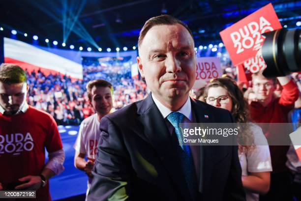 President of Poland, Andrzej Duda shakes hands with supporters during the official launch of the Presidential campaign on February 15, 2020 in...