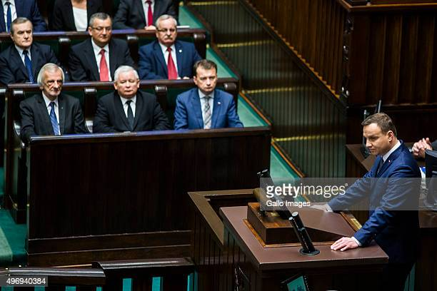 President of Poland Andrzej Duda speaks at the first session of SEJM on November 12 2015 in Parliament in Warsaw Poland