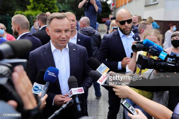 President of Poland Andrzej Duda speaks during a press conference after voting The incumbent President of Poland Andrzej Duda with Poland's First...