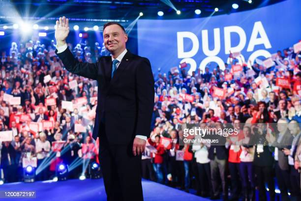 President of Poland, Andrzej Duda waves to supporters before giving a speech during the official launch of the Presidential campaign on February 15,...