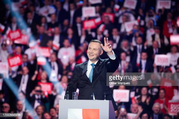 President of Poland, Andrzej Duda waves to supporters during the official launch of Presidential campaign on February 15, 2020 in Warsaw, Poland. The...