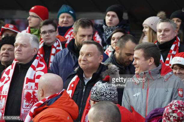 President of Poland Andrzej Duda with Jaroslaw Gowin the Deputy Prime Minister and Witold Banka Minister of Sport and Tourism seen during the Large...