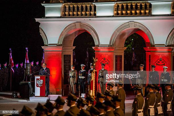 President of Poland Bronislaw Komorowski gives a speech in the Tomb of Unknown Soldier in Warsaw's Pilsudski Square during the celebrations of the...