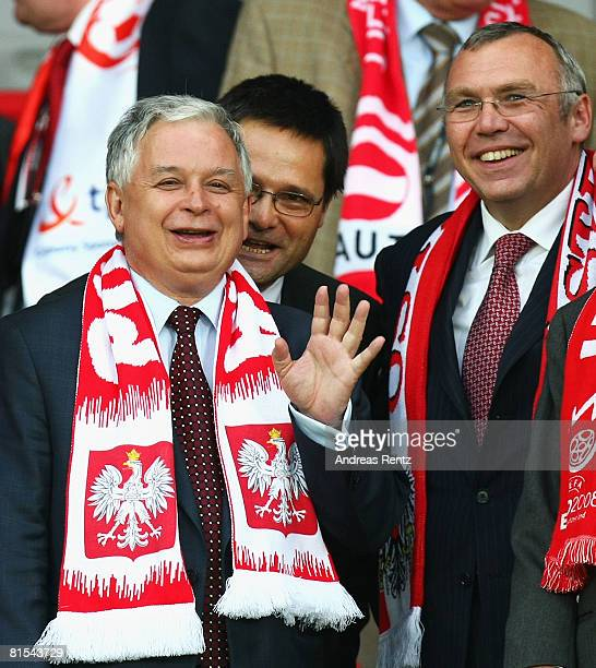President of Poland Lech Kaczynski and Prime Minister of Austria Alfred Gusenbauer look on during the UEFA EURO 2008 Group B match between Austria...