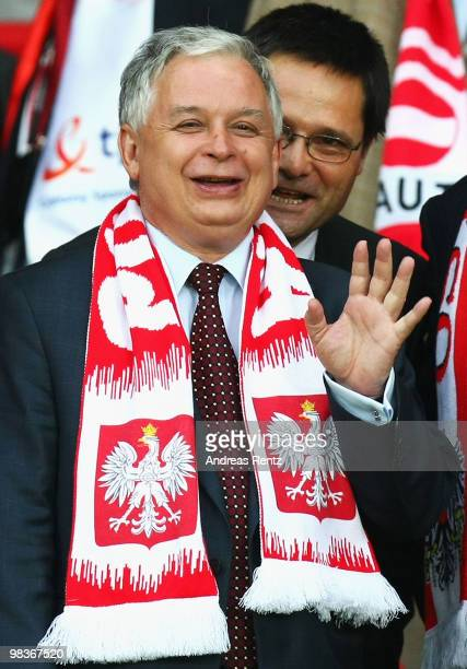 President of Poland Lech Kaczynski waves during the UEFA EURO 2008 Group B match between Austria and Poland at Ernst Happel Stadion on June 12, 2008...