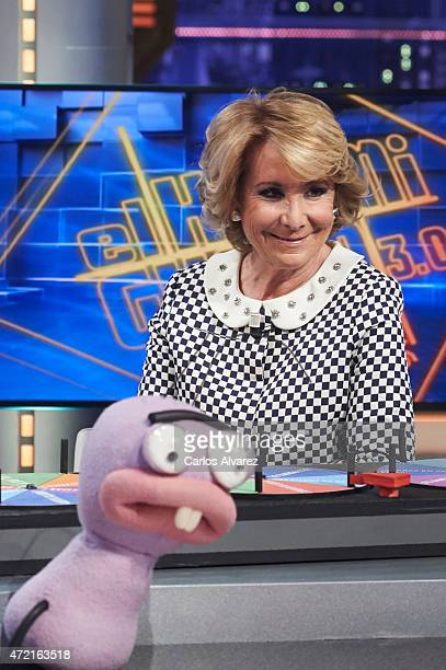President of Popular Party in Madrid Esperanza Aguirre attends El Hormiguero Tv show at the Vertice Studio on May 04 2015 in Madrid Spain