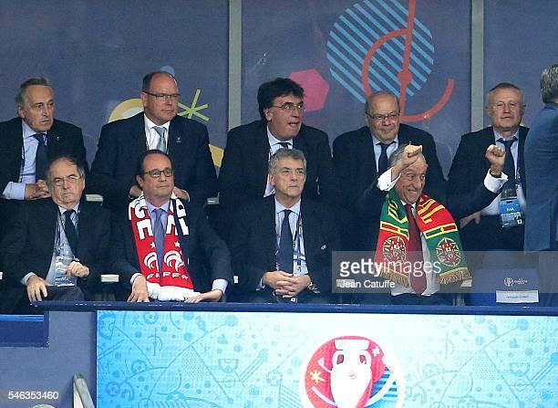President of Portugal Marcelo Rebelo de Sousa celebrates the winning goal of Eder while President of French Football Federation FFF Noel Le Graet,...