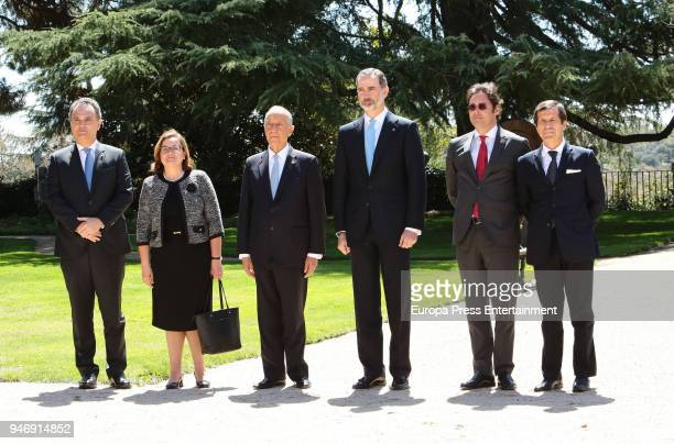 President of Portugal Marcelo Rebelo de Sousa is received by King Felipe of Spain for an official lunch at Zarzuela Palace on April 16 2018 in Madrid...