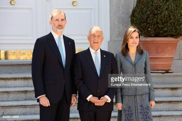President of Portugal Marcelo Rebelo de Sousa is received by Spanish Royals King Felipe of Spain and Queen Letizia of Spain for an official lunch at...