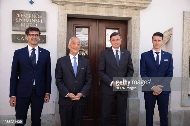 President of Portugal Marcelo Rebelo de Sousa , Slovenian president Borut Pahor , mayor of Kranj Matjaz Rakovec and deputy mayor Janez Cerne pose for...