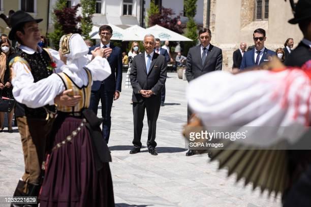 President of Portugal Marcelo Rebelo de Sousa , Slovenian president Borut Pahor , mayor of Kranj Matjaz Rakovec and deputy mayor Janez Cerne watch...