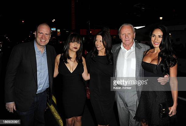 President of Production at Marvel Studios Kevin Feige and actor Anthony Hopkins with family arrive at the premiere of Marvel's 'Thor The Dark World'...