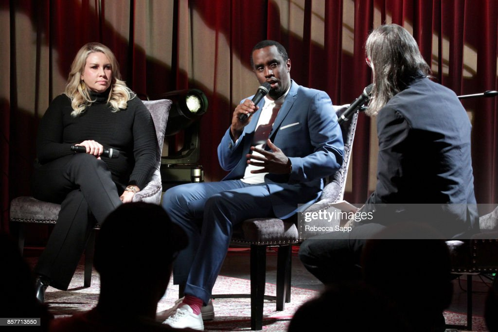 President of Production, Film & Television for Live Nation Heather Parry and Sean 'Diddy' Combs speak with GRAMMY Museum Executive Director Scott Goldman at Reel To Reel: Cant Stop Won't Stop: A Bad Boy Story at The GRAMMY Museum on October 4, 2017 in Los Angeles, California.