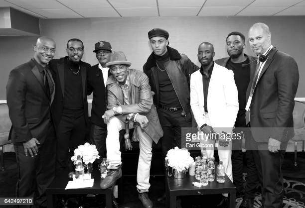 President of Programming for BET Stephen Hill singers Luke James Ralph Tresvant Keith Powers Elijah Kelley and Woody McClain attend BET Presents the...
