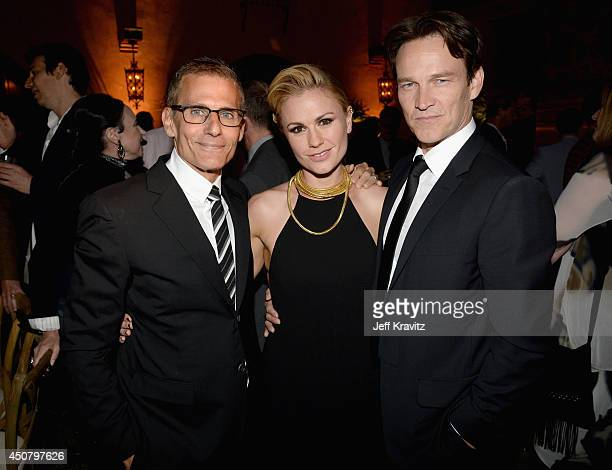 HBO president of programming Michael Lombardo and actors Anna Paquin and Stephen Moyer attend HBO 'True Blood' season 7 premiere after party at...