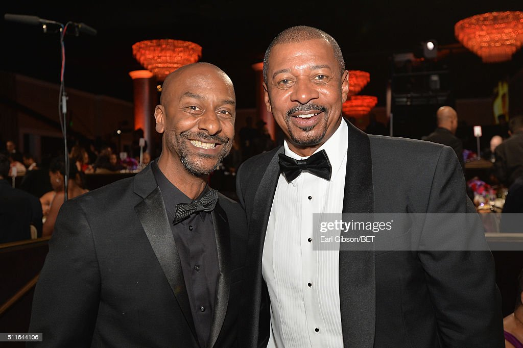 President of Programming Stephen Hill (L) and director Robert Townsend pose during the 2016 ABFF Awards: A Celebration Of Hollywood at The Beverly Hilton Hotel on February 21, 2016 in Beverly Hills, California.