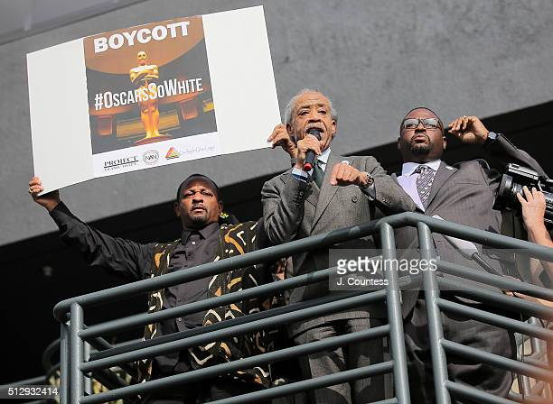 President of Project Islamic Hope Najee Ali and President of the Los Angeles Chapter of the National Action Network Reverend KW Tulloss are seen with...