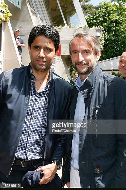 President of PSG football team Nasser Al Khelaifi and Chief Operating Officer of PSG football team JeanClaude Blanc attend Roland Garros Tennis...