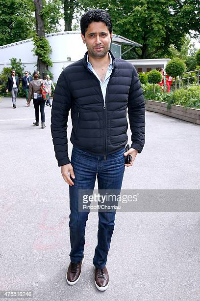 President of PSG football team Nasser Al Khelaifi attends the 2015 Roland Garros French Tennis Open Day Nine on June 1 2015 in Paris France