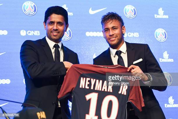 President of PSG Nasser Al Khelaifi and New signing player Neymar during press conference of Paris SaintGermain at Parc des Princes on August 4 2017...