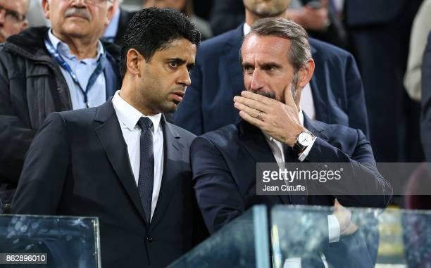 President of PSG Nasser Al Khelaifi Director of PSG JeanClaude Blanc attend the UEFA Champions League match between RSC Anderlecht and Paris Saint...